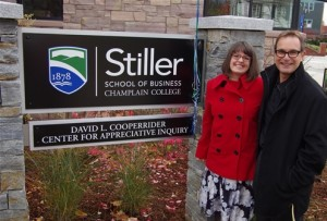 Professor Lindsey Godwin (left), with David Cooperrider...